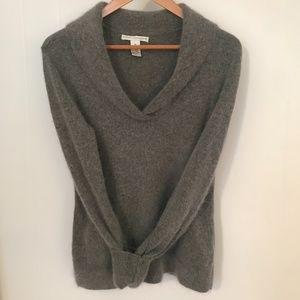 Sarah Spencer Women's Angora blend Pullover Sweater Shawl Collar Gray Medium